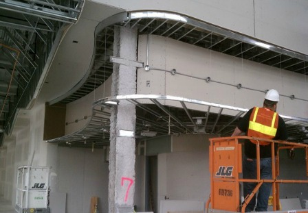 Figure 2 – Artek, an architectural millwork company, partnered with R.D. Wing Co. to design the Art Frieze Ribbon and fabricated the steel support structure to hold it in place.