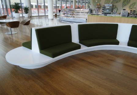 Figure 7 – These unique solid surface benches were created to adorn the lobby to the hospital.