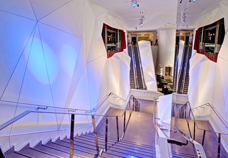 Figure 1 – The project called for the stairs and the escalator leading to the hotel to have the same geometric pattern as the upper level entranceways.